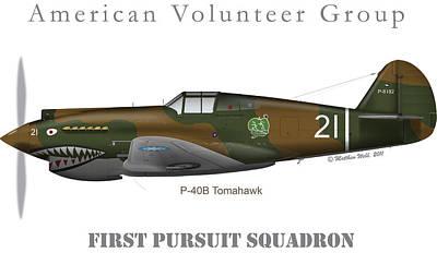 Boyington's P-40b Of Avg Art Print by Matthew Webb