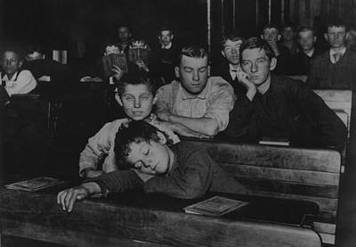Boys And Teenagers Attend Night School Art Print by Everett