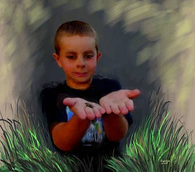 Painting - Boys And Their Pet Frogs by Cindy Wright