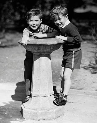Boys At Drinking Fountain Art Print by George Marks