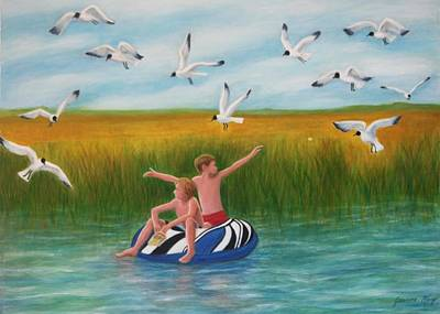Boys Sharing With Laughing Gulls Art Print
