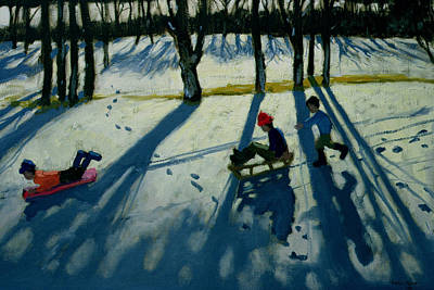 Winter Landscape Painting - Boys Sledging by Andrew Macara
