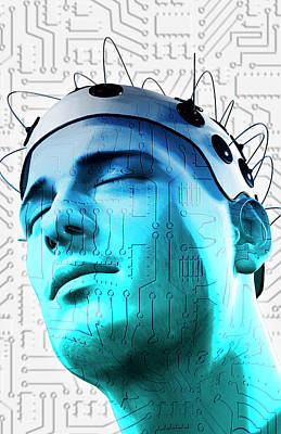 Human Head Digital Art - Brain Circuit by MedicalRF.com