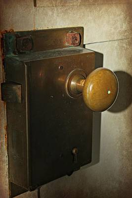 Photograph - Brass Doorknob Shadows by Jo Sheehan