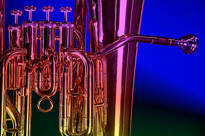 Photograph - Brass Instrument Tuba On Blue by M K Miller