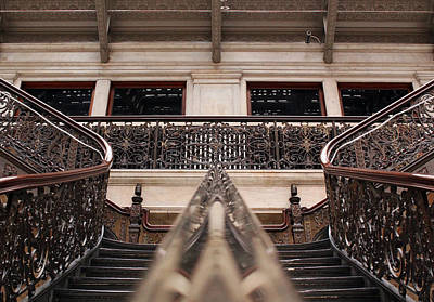 Staircase Photograph - Brass Rail Reflection by Peter Chilelli