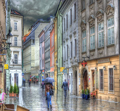 Bratislava Rainy Day In Old Town Print by Juli Scalzi