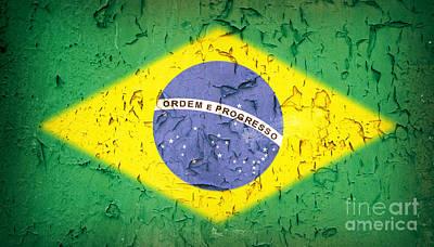 Brazil Flag Vintage Print by Jane Rix