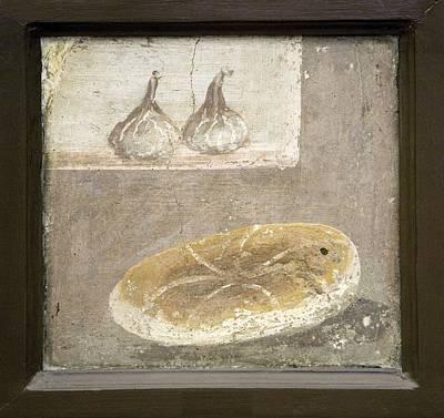 Bread And Figs, Roman Fresco Art Print by Sheila Terry