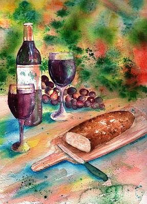 Glass Of Wine Painting - Bread And Wine by Sharon Mick