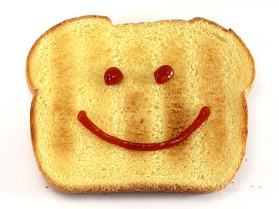 Cute Cartoon Photograph - Bread With Happy Face by Blink Images
