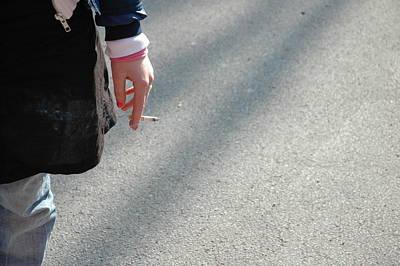 Photograph - Break For A Smoke - Hand Holding Cigarette by Matthias Hauser