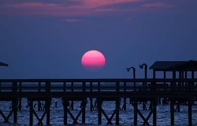 Breathtaking Sunset Over Calcasieu Lake Pier Art Print by Debi York