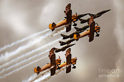Breitling Jet Team With Wingwalkers Art Print by Angel  Tarantella