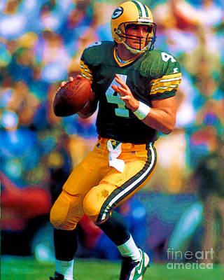 Digital Art - Bret Favre- Green Bay Packers by Herb Paynter