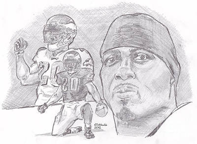 Drawing - Brian Dawkins Bw by Chris  DelVecchio