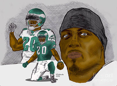 Drawing - Brian Dawkins Full Color by Chris  DelVecchio