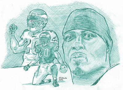 Drawing - Brian Dawkins Ltgreen by Chris  DelVecchio