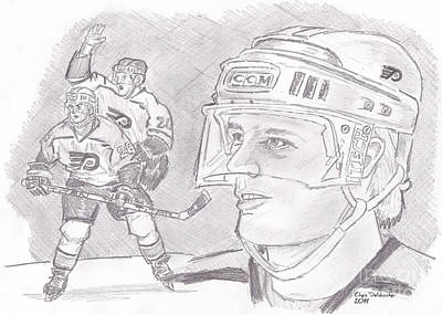 Drawing - Brian Propp by Chris  DelVecchio