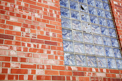 Ashlee Meyer Photograph - Brick And Glass Wall by Ashlee Meyer