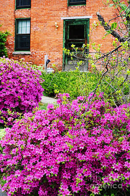 Brick Building And Spring Flowers Art Print by HD Connelly