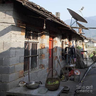 Brick Duplex Photograph - Brick Duplex With Satellite Dishes by Shannon Fagan