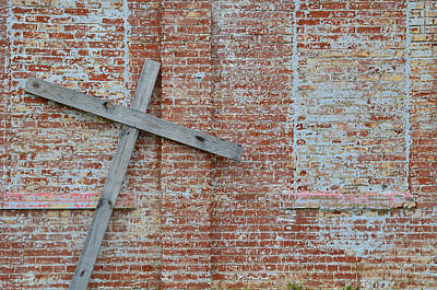 Photograph - Brick Wall Cross by Nikki Marie Smith