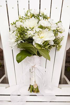Wood Necklace Photograph - Bridal Bouquet On Muskoka Chair, Muskoka, Ontario, Canada by Ikonica