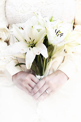 Floral Engagement Ring Photograph - Bride And Lilies by Stephanie Frey