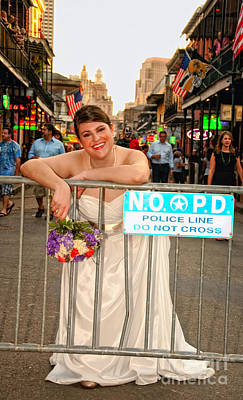 Bride And The Barricade On Bourbon Street Art Print by Kathleen K Parker