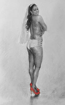 Bride Drawing - Bride In Red Heels by Ylli Haruni