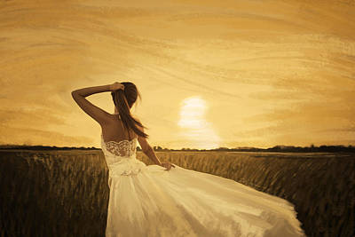 Bride In Yellow Field On Sunset  Art Print