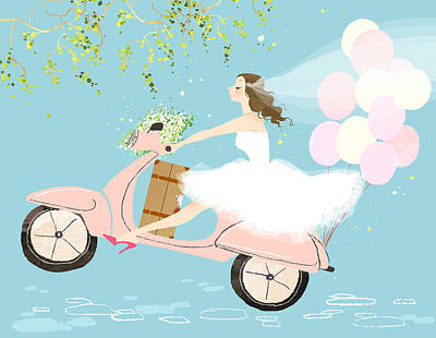 Bride On Scooter Art Print by Eastnine Inc.