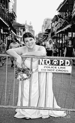 Strapless Dress Digital Art - Bride On The Barricade On Bourbon St Nola by Kathleen K Parker