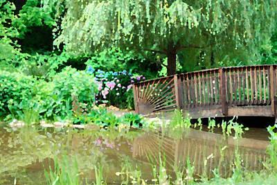 Meadowlark Digital Art - Bridge And Hydrangea by Eva Kaufman