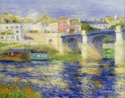Reflecting Water Painting - Bridge At Chatou by Pierre Auguste Renoir