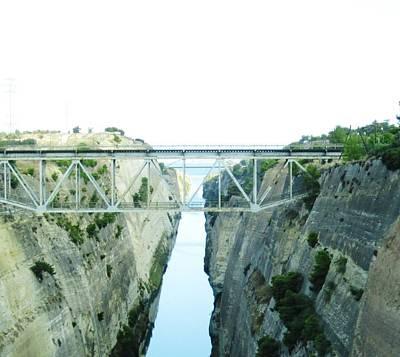 Photograph - Bridge Crossing Corinth Canal In Greece by John Shiron
