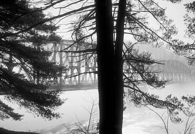 Photograph - Bridge In The Fog Bw by Mark Dodd