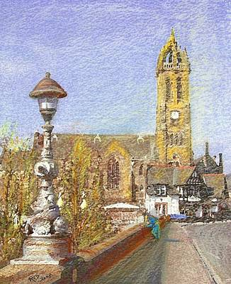Art Print featuring the painting Bridge Inn And Parish Church Peebles by Richard James Digance