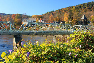 Shelburne Falls Photograph - Bridge Of Flowers Morning Glory Autumn by John Burk