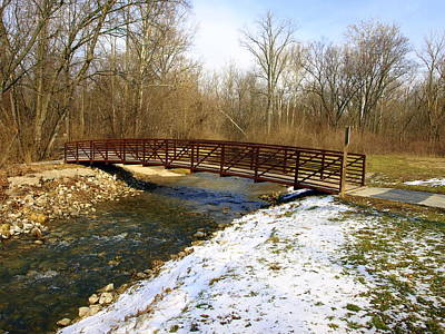 Bridge Over The Creek In Winter Art Print by Mike Stanfield