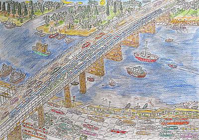 Dnieper Wall Art - Drawing - Bridge Over The Dnieper River by Yuriy Mkhitaryants