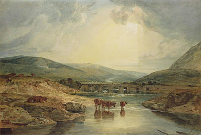 River Scenes Painting - Bridge Over The Usk by Joseph Mallord William Turner