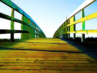 Impressionistic Digital Painting - Bridge To Somewhere by Elaine Plesser