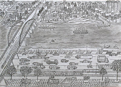 Dnieper Wall Art - Drawing - Bridge To The Left Bank by Yuriy Mkhitaryants