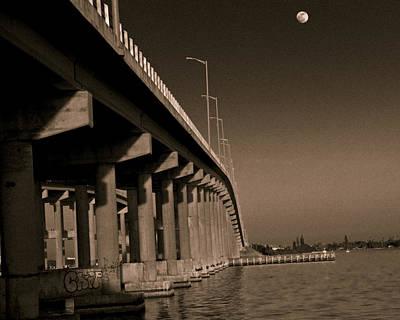 Bridge To The Moon Art Print by Roger Wedegis