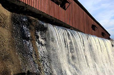 Bridgeton Covered Bridge And Waterfall No 1 Art Print by Alan Look