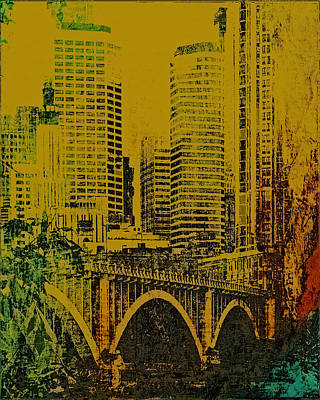 Mississippi River Digital Art - Bridging Minneapolis by Susan Stone