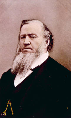 Brigham Young 1801-1877, Hand Colored Art Print by Everett