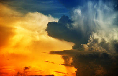 Bright And Dark Clouds Looks Like Enigmatic Figures In Sky Art Print